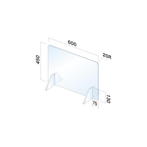 APT4560-M 飛散防止パネル(透明) 無地 窓無し 幅600×高450×厚3mm
