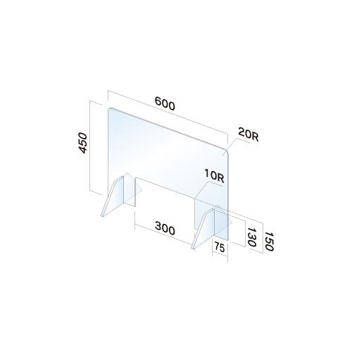 APT4560W-M 飛散防止パネル(透明) 無地 窓あり 幅600×高450×厚3mm