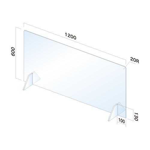 APT6012-M飛散防止パネル(透明) 無地 窓無し幅1200×高600×厚3mm