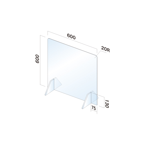 APT6060-M飛散防止パネル(透明) 無地 窓無し幅600×高600×厚3mm