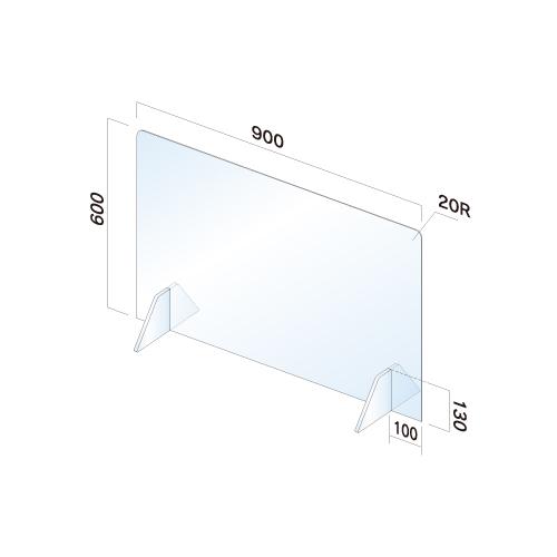 APT6090-M飛散防止パネル(透明) 無地 窓無し幅900×高600×厚3mm