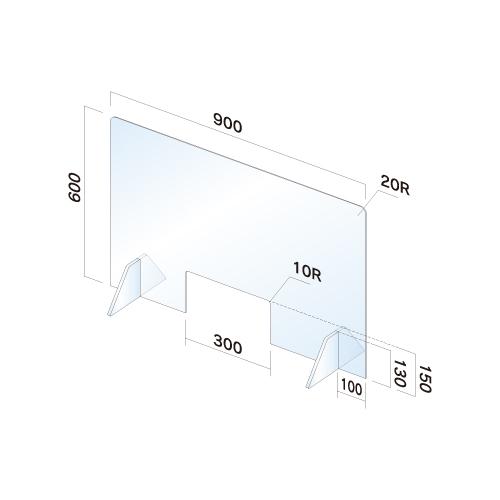 APT6090W-M飛散防止パネル(透明) 無地 窓あり幅900×高600×厚3mm